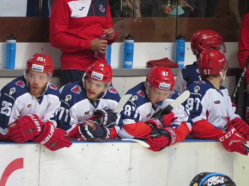CSKA Mosca - HC davos (15/08/18) _ Nell'ordine (sinistra/destra): Grigorenko, Okulov, Sveltakov, Kaprizov